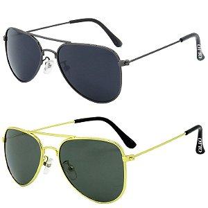 Kit de 2 Óculos de Sol Clássicos OTTO em Metal Monel® Aviador Grafite / Dourado