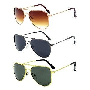 Kit de 3 Óculos de Sol Clássicos OTTO em Metal Monel® Aviador Rosê - Grafite - Dourado