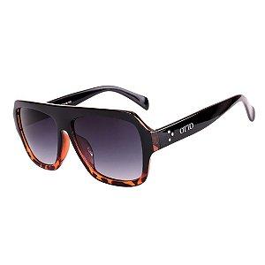 Óculos de Sol OTTO em Grilamid® TR-90 Quadrado Preto com Tartaruga Brilho