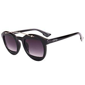 Óculos de Sol OTTO em Grilamid® TR-90 Redondo Preto Brilho com Dourado