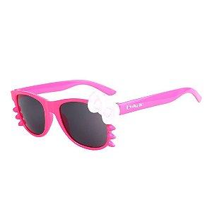 Óculos de Sol Infantil Eva Solo Quadrado Gatinho Pink e Laço Branco