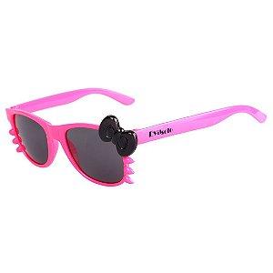 Óculos de Sol Infantil Eva Solo Quadrado Gatinho Pink e Laço Preto