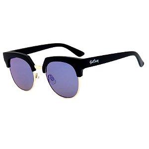 Óculos de Sol BellClover em Grilamid® TR-90 Preto Fosco Lente Espelhada Azul