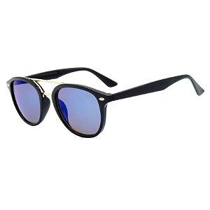 Óculos de Sol BellClover em Grilamid® TR-90 Preto Fosco com Lente Espelhada