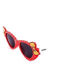 Óculos de Sol Amy Loo Laço com Bolinhas Vermelho e Branco