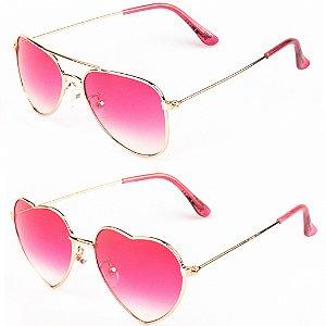 Kit de 2 Óculos de Sol Infantil RedHot Redondo e Coração Rosa