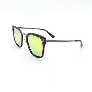 Óculos de Sol Dark Face Animal Print Dourado - B091
