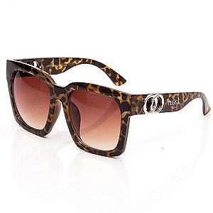 Óculos de Sol Clos Quadrado Animal Print Marrom