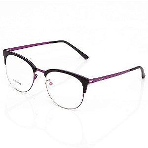 Óculos de Grau Clos Arredondado Roxo e Preto