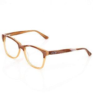 Óculos de Grau Clos Quadrado Marrom com Bege