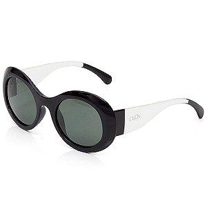 Óculos de Sol Clos Redondo Preto e Translúcido