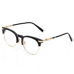 Óculos de Grau Clos Arredondado Preto e Dourado