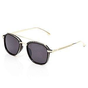 Óculos de Sol Clos Arredondado Preto e Dourado