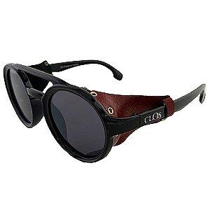 Óculos de Sol Clos Retro Soldador Preto Brilhante Couro Marrom