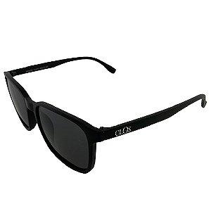 Óculos de Sol Clos em Grilamid® TR-90 Quadrado Preto Fosco