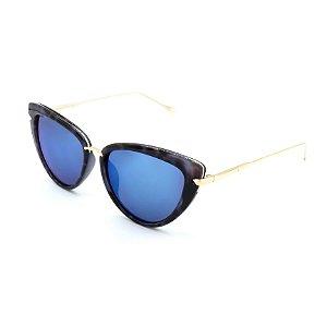 Óculos Solar Prorider Preto Animal Print Azul com Dourado Com Lente Azul - H01440