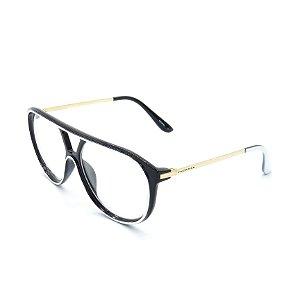 Óculos Receituário Prorider Preto, Branco e Dourado com Lentes de Apresentação - RM0100C55