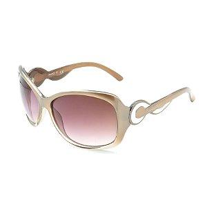 Óculos de Sol Prorider Retrô Detalhado Bege com Lente Degradê Rosê - BIODIVERSITY21
