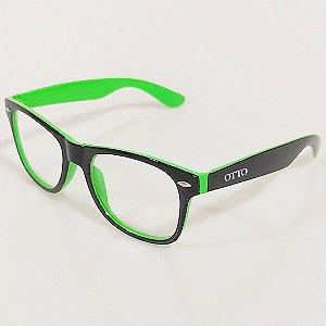 Óculos de Grau Otto Wayfarer Preto e Verde