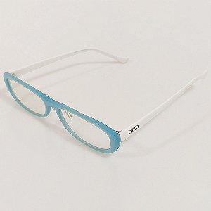 Óculos de Grau Otto Retangular Azul e Branco
