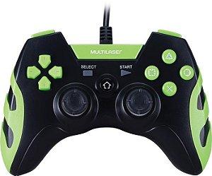 CONTROLE PS3/PS2/PC PRETO/VERDE JS081