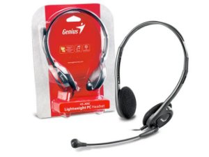 FONE COM MICROFONE GENIUS HS-200C HEADSET SLIM PRET ARCO AJUSTAVEL
