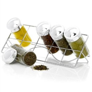 Conjunto Porta Condimentos e Temperos em Vidro com Suporte Inclinado