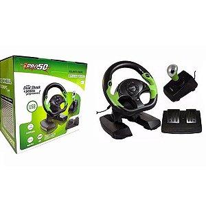 Volante para Xbox 360 e PC USB PRO50 c/ Pedais e Câmbio