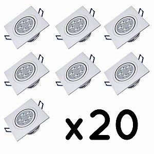 Kit 20 Spot 5w Super LED Quadrado Direcionável Teto Embutir