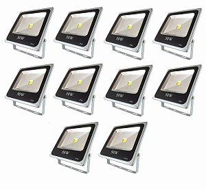 Kit 10 Refletor LED Branco Frio 50w Bivolt