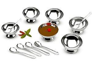 Conjunto para Servir Doces e Sobremesa 12 Peças Aço Inox