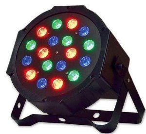 Refletor LED Par 64 18 Leds Canhão Rgb 1w Dmx Digital Strobo