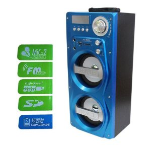 Caixa Som Bluetooth Amplificada Microfone USB MP3 FM