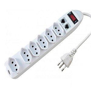 Extensão Filtro Régua Bivolt 6 Tomadas Proteção Telefone
