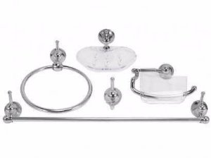 Kit Acessórios Banheiro 5 Pçs Vidro Cristal Retangular Canto