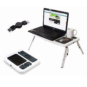 Mesa Para Notebook Dobrável Retrátil Regulável Cooler Copo