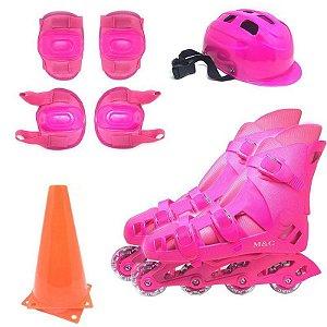 Patins Infantil Rosa Sports Completo + Kit Segurança + Cones
