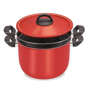 Espagueteira 2 em 1 Vermelha com Antiaderente - Dona Chefa