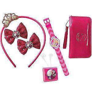 Conjunto Barbie Fashionastic com Rádio, Relógio, Bolsa,Tiara e Presilhas - Candide