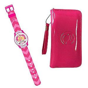 Conjunto Barbie Fantastic com Relógio e Bolsa Porta Celular - Candide