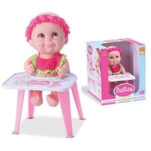 Boneca Bebê Banies Papinha Com Cadeirinha - Bee Toys