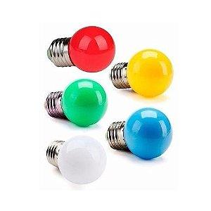 Lampada 15W Bolinha E27 Decorativa em Cores Sortidas