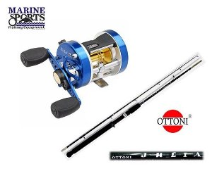 Kit Pesca Carretilha Marine Sports Caster 200 + Vara Ottoni Julia JSL + 2 Linhas 0.50mm