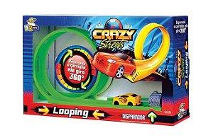 Pista Looping 360º Crazy Streets com Disparador Carrinho BS Toys