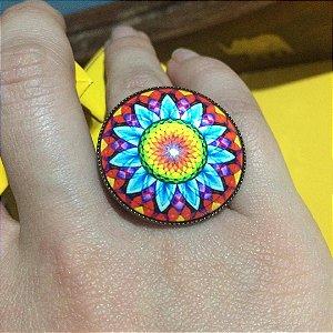 Anel Maxi Mandala Colorida