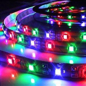 Fita LED RGB 3528 Rolo 5m + Controle + Fonte