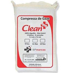 Compressa de Gaze Clean 11 Fios  7,5cmx7,5cm Não Estéril
