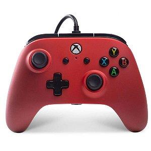 Controle Xbox One e PC Power A Red C/ Fio