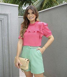Blusa Crepe Jabots - Ana Luiza
