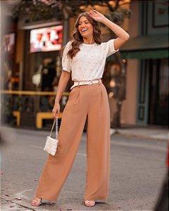 Calça Pantalona Cinto Corda
